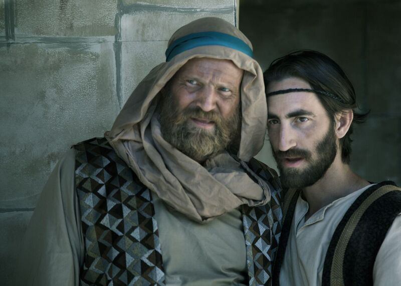 Gene Zacharias (Simon Peter) and Giovanni Mocibob (Jesus) have pivotal roles in 2017 Passion Play. Photo Credit: Royal Sproule