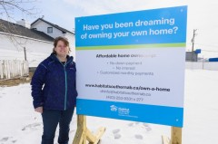 Sheri Cooper stands at the location of the upcoming Habitat for Humanity Project in North Drumheller on Friday, April 6. The organization is looking for successful applicants to make the duplex project a reality for 2018.  mailphoto by Terri Huxley