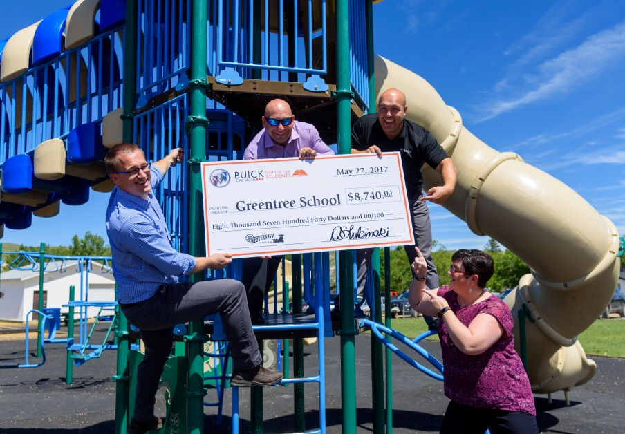 Chevrolet presents cheque to Greentree school towards their new playground extension meant to create accessibility for every student