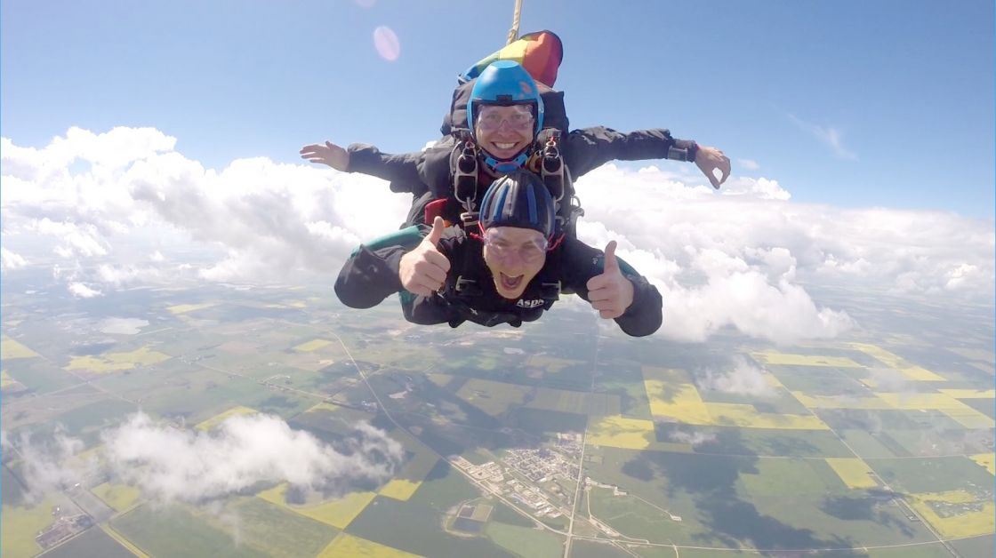Alberta Skydivers in Beiseker specialized in first time jumps for adventure seekers or those wanting to cross it off their bucket list.