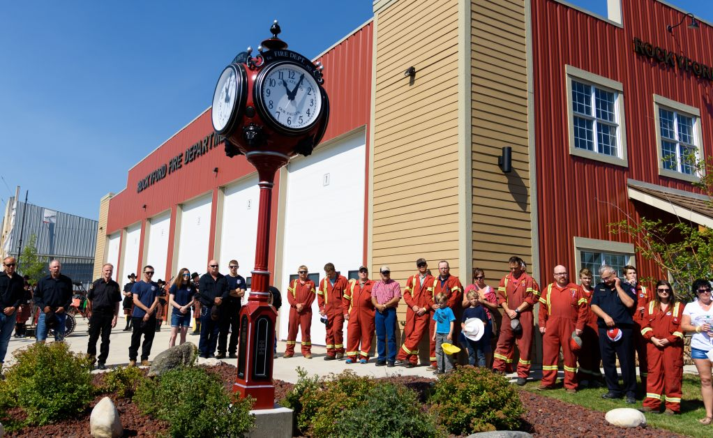 On Saturday, July 31, the Rockyford Fire Department paid tribute to their fallen firefighters with a $40,000 clock tower. In recent memory, two particular men were recognized for their duty; David (Dave) Mabbott and Richard (Rick) Zachariassen as their names are forever etched into the lower base of the tower. The project took approximately six months to build with a shared cost between the Rockyford Fire Association, Village of Rockyford, and individual volunteer firefighters.