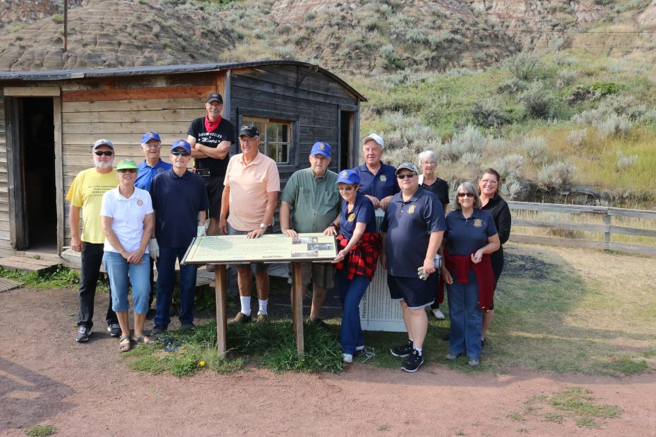 Members of the Rotary Club of Drumheller were at the Atlas Coal Mine Monday morning, August 8 to install 13 new interpretive signs along the Tipple Trail.