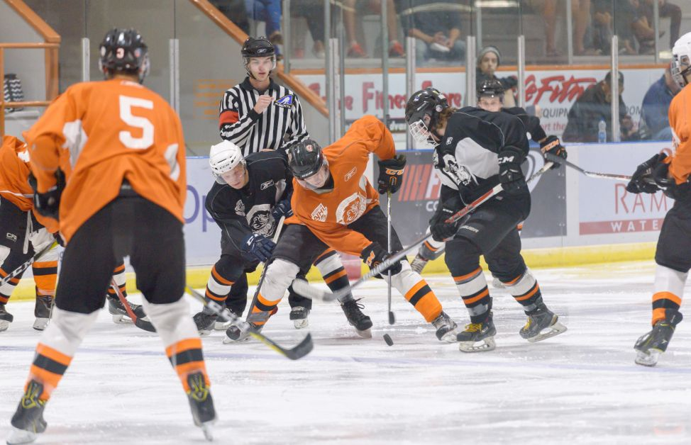 The Dragons are in the midst of  preseason play. After their Orange and Black intrasquad game, above, they were in tournament play in Camrose. mailphoto by Terri Huxley