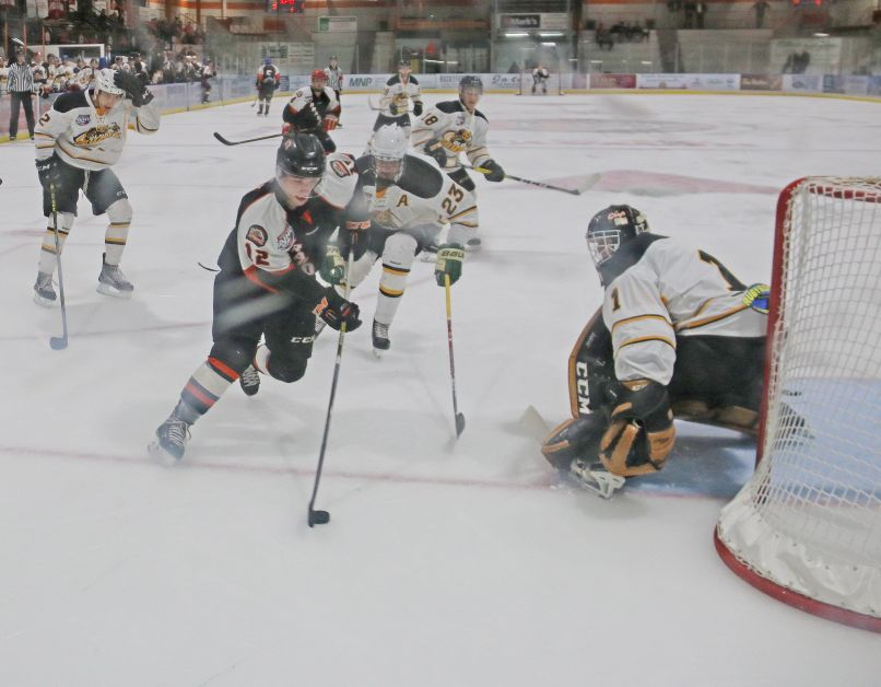 Brady Risk has a chance last Wednesday versus the Olds Grizzlys. The Dragons finished the  preseason with a 5-1 record and open the regular season this Friday versus the Camrose Kodiaks. mailphoto by Patrick Kolafa